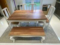 Country Kitchen Vintage Style Dining Table & Chairs