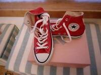 Red Converse trainers, worn once. Size 4.5
