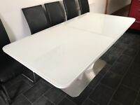 Glass white table with 6 chairs
