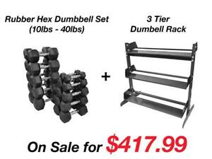 Northern Lights 10 - 40 LB Rubber Hex Dumbbell Set + Northern Lights 3 Tier Economy Dumbbell Rack