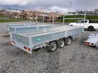 16ft 3.5ton gross builders dropside galvanised trailer led's spare ladder rack aluminium floor