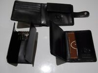 Gents Black Leather wallet with matching key case and card holder