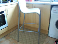 Barstool/Chair White Opaque Chair With Grey Metal Les As New Ikea