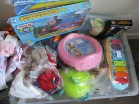 two boxes of baby/toddler toys, all v.g.c. from grandmas house.