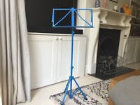 Foldable music stand in blue. Great condition