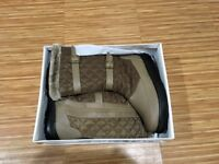Ladies Brown Taupe Damart Faux Fur Lined Winter Boots Size 8