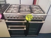 LAMONA GRADED 90CM DUAL FUEL RANGE STYLE COOKER IN SILIVER. G