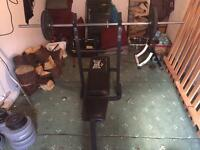 Weights, bench, dumbbell, barbell etx