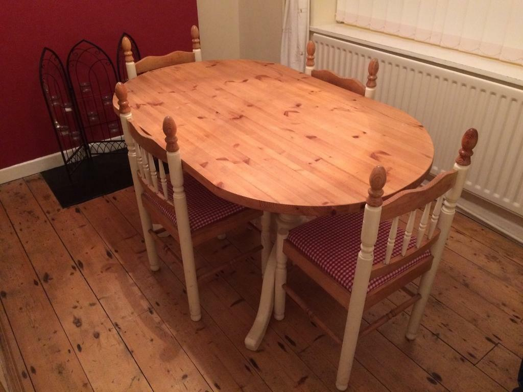 Pine Kitchen Table And Chairs Upcycled Cream Pine Dining Room Table And Four Chairs In