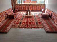 Moroccan Sheesha Lounge Persian Rug Floor Carpet Arm Back Rest Arabian Coffee Table Lounge Set -Used
