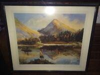 Splendid Framed Print of Fishing in Glencoe by Artist William H Fry
