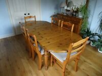 Ducal Extending Pine dining table and 6 chairs, good condition