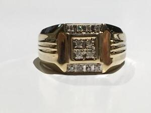 #1566 10K YELLOW GOLD MENS FANCY DIAMOND RING *SIZE 11 1/2* APPRAISED AT $1675.00 SELLING FOR ONLY $595.00