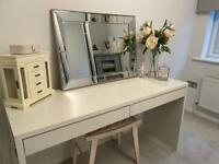White dressing table or office table with drawers