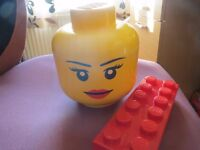 Lego storage box with girls face plus Lego pencil case