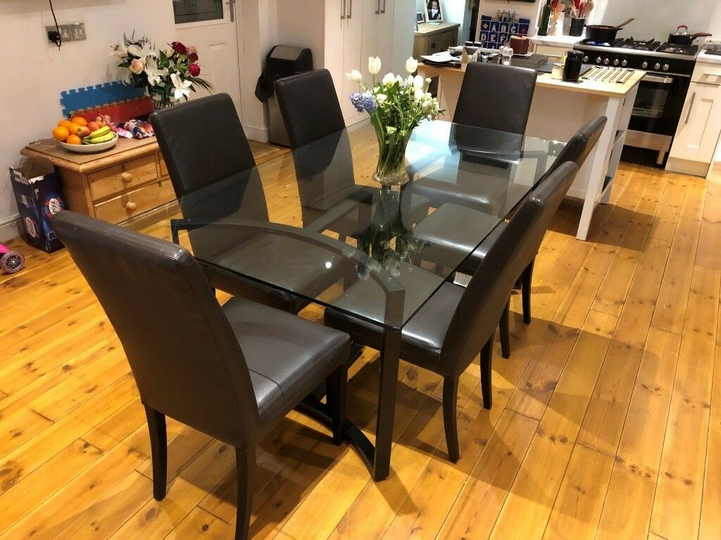 John Lewis 6 Seater Glass Topped Dining Room Table Chairs For Sale