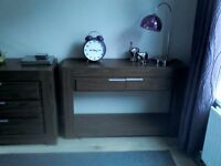 Modern walnut console table / hall table in excellent condition £75 ono