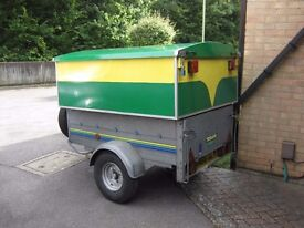 Trelgo tipping car trailer with jockey wheel, spare wheel, jack, tools and lockable tool box.