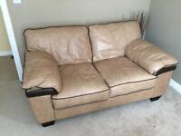 Leather sofa and matching storage footstool