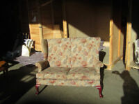 pretty 2 seater sofa with chairs and footstool