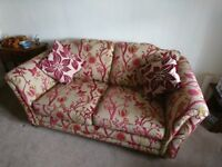 Courtney Three Piece Suite - by Alstons Upholstery. Red & Gold Tree Pattern.