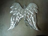 A pair of custom made quilted Angel Wings in silver leather look Vinyl – Perfect Condition