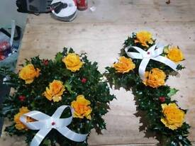 Christmas Holly wreaths and crosses