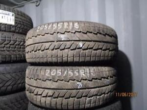 205/55R16  PAIR OF 2 ONLY USED POWERTRAC WINTER TIRES
