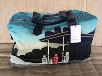 Genuine Paul Smith Holdall Bag with Blue Garage Print - Brand New! Canvas & Leather