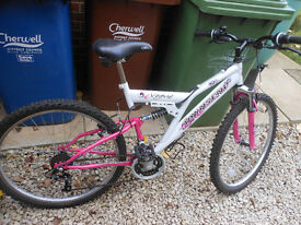 LADIES/GIRLS FULL SUSPENSION BIKE VGC PINK/WHITE