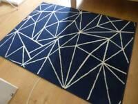 Floor rug mat, blue design, 120cmx160cm