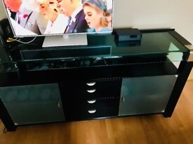 Black silver and glass sideboard and matching table. Amazing condition.