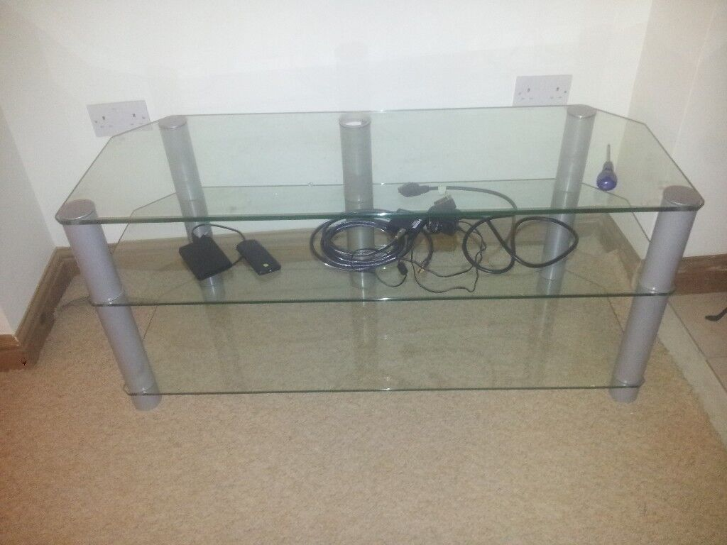 clear glass three tier tv stand