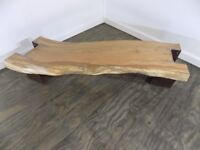 Handcrafted Oak and Steel Beam Coffee Table