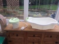 baby bath tube with shower unit