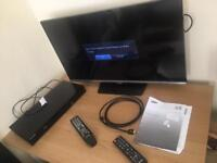 "Samsung 32"" series 5 full HD LED TV + remote with Samsung bluray player with remote and hdmi cable"
