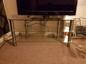 Glass two tier tv stand for sale