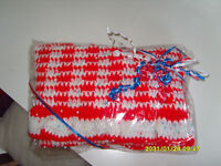 "**BRAND NEW & GIFT WRAPPED** red & white hand crocheted blanket - 23"" square"
