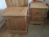 Solid waxed pine bedside chests x 2