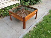 Low Teak & Smoked Glass Danish Design Coffee Table