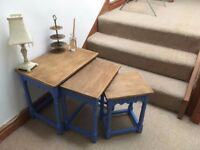 Upcycled Nest of 3 Tables Hand Painted