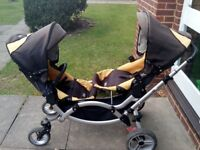 Obaby ABC Zoom Tandem Double Pushchair Pram Stroller Buggy with Carrycot