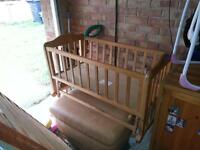 Baby swinging crib cradle-wooden