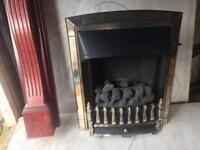 Convector gas fire / marble hearth /wooden surround matching mirror
