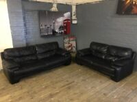 HARVEYS BLACK 3 & 2 REAL LEATHER SET VERY NICE REAL COMFY GOOD CONDITION