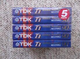 New/sealed TDK audiocassettes - pack of 5 TDK T1 90 - 90-minute Ferric/Type I cassette tapes