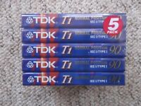 New/sealed TDK audiocassettes - pack of 5 TDK T1 90 - 90-minute Ferric/Type I cassette tapes