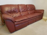 3 Piece Suite & Foot Stall in Real Maroon Leather