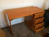 Pine Desk with 4 drawers. Small desk great for use in your bedroom