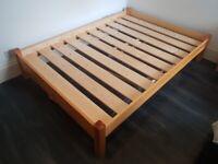 Solid Light Oak Bed Frame & Storge